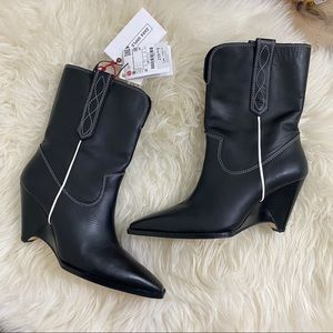 ZARA SRPLS NWT Black Western Leather Boots 37